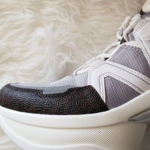 MICHAEL Michael Kors Shoes - Michael Kors Olympia Logo Canvas Trainers 8.5